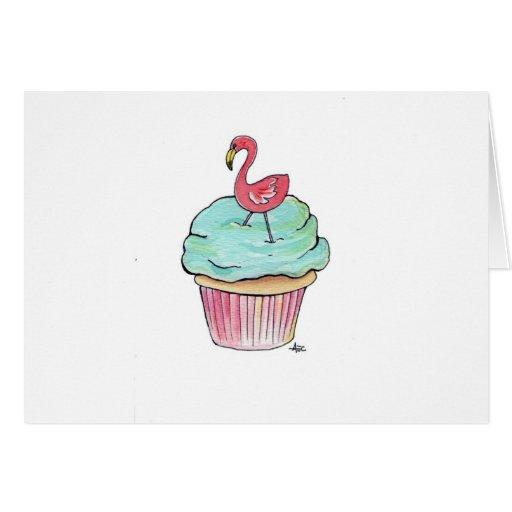 Pink Flamingo Cupcake Greeting Card