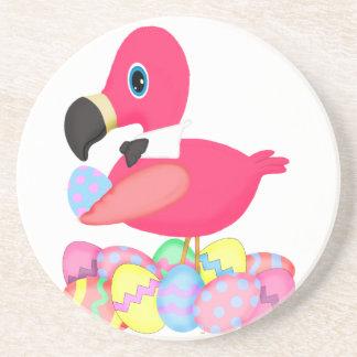 Pink Flamingo Easter Eggs Bowtie Beverage Coasters