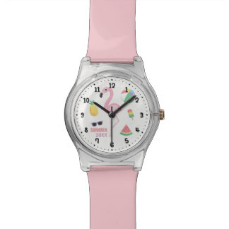 Pink Flamingo Enjoy Summer Girls Watch