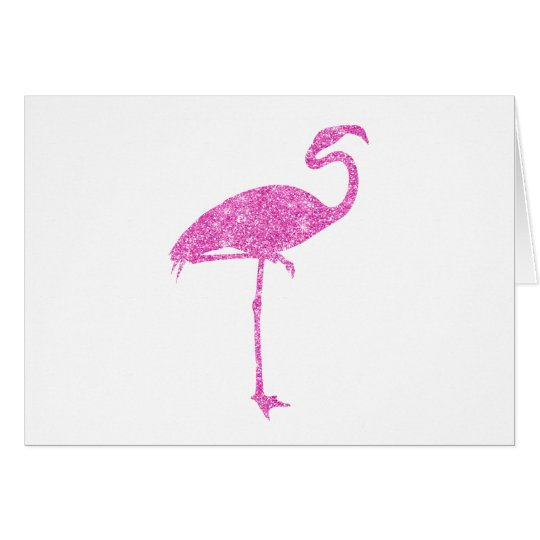 Pink Flamingo Faux Glitter Flamingos Tropical Bird Card