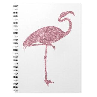 Pink Flamingo Faux Glitter Flamingos Tropical Notebook