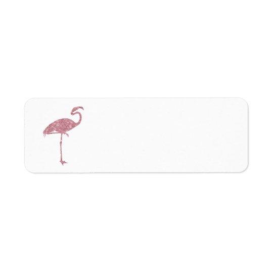 Pink Flamingo Faux Glitter Flamingos Tropical Return Address