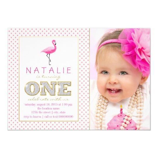 Pink Flamingo First Birthday Card