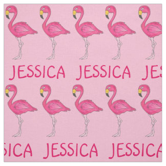 Pink Flamingo Flamingos Personalized Name Fabric
