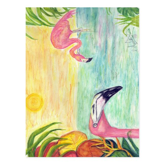 Pink Flamingo Florida Art Postcard