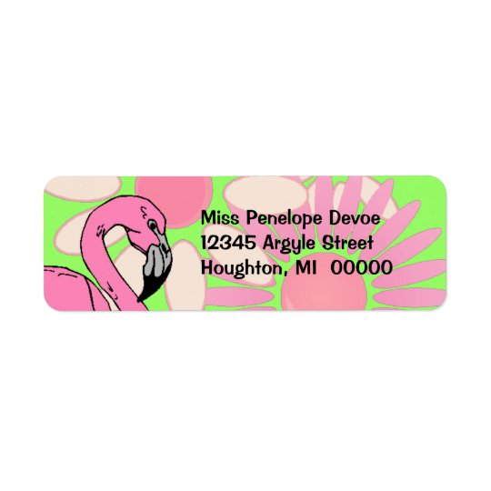 Pink Flamingo Flower Petal Camouflage Return Label Return Address Label