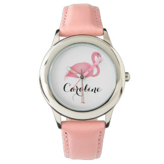 Pink flamingo girl's watch