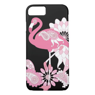 Pink Flamingo Girly Cool Black iPhone 8/7 Case