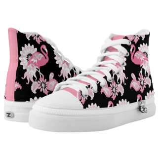 Pink Flamingo Girly Cool Black Printed Shoes