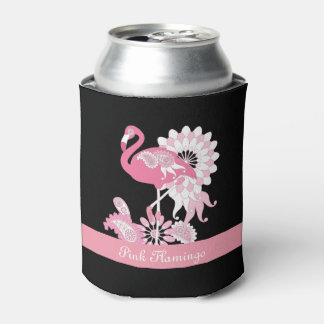 Pink Flamingo Girly Cool Personalized Black Can Cooler