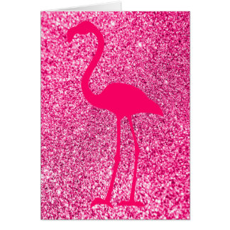 Pink Flamingo Glitter Happy Birthday Card
