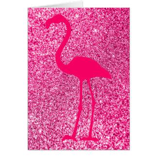 Pink Flamingo Glitter Happy Birthday Card