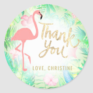 pink flamingo gold thank you round sticker