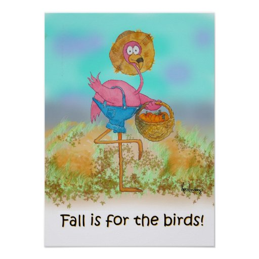 Pink Flamingo Happy Fall Funny Humour Pumpkin Poster