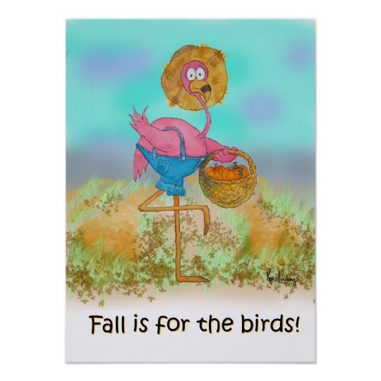 Pink Flamingo Happy Fall Funny Humour Pumpkin Poster