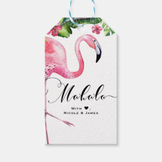Pink Flamingo Hibiscus Floral Hawaii MAHALO ALOHA Gift Tags