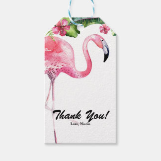 Pink Flamingo & Hibiscus Tropical Party Favor Gift Tags