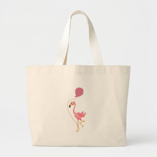 Pink Flamingo Holding Balloon Canvas Bags