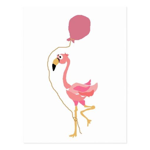 Pink Flamingo Holding Balloon Postcard