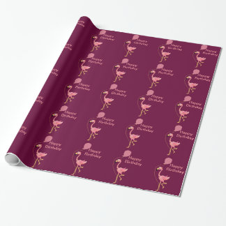 Pink Flamingo Holding Balloon Wrapping Paper