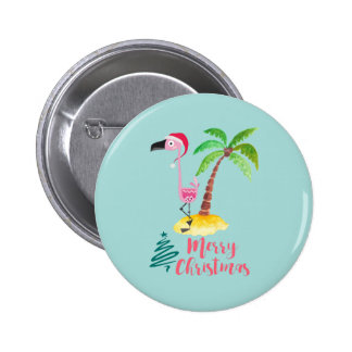 Pink Flamingo In A Santa Hat By A Palm Tree Xmas 6 Cm Round Badge