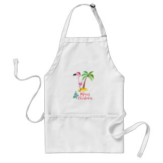Pink Flamingo In A Santa Hat By A Palm Tree Xmas Standard Apron