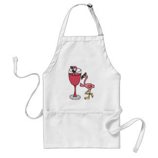 Pink Flamingo in Blush Wine Glass Standard Apron