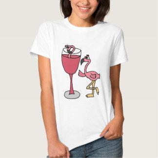 Pink Flamingo in Blush Wine Glass T-shirts