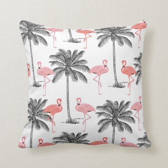 Pink Flamingo in Palm trees home decor pillow
