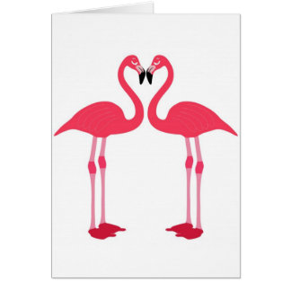 Pink Flamingo Love Birds Card