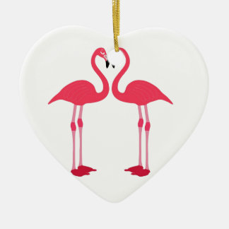 Pink Flamingo Love Birds Christmas Ornament