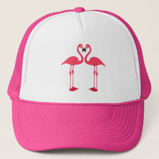 Pink Flamingo Love Birds Trucker Hat