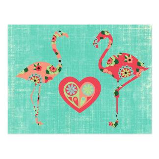 Pink Flamingo Love Postcard