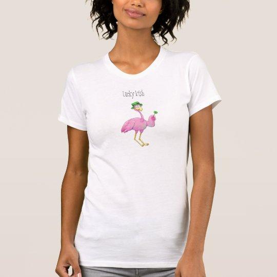 Pink Flamingo Luck Irish St. Patrick's Day Ireland T-Shirt