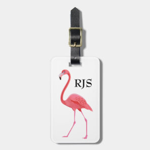 Pink Flamingo Monogram Personalise Luggage Tag