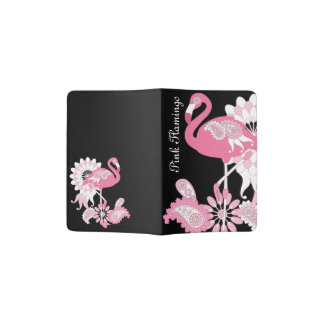 Pink Flamingo Name Girly Cool Black Passport Holder