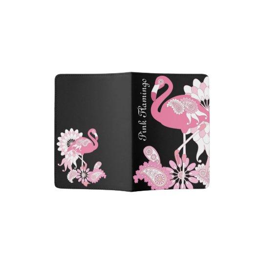 Pink Flamingo Name Girly Cool Black Passport Holder