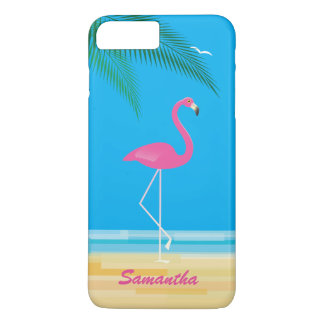 Pink Flamingo on Beach iPhone 7 Plus Case