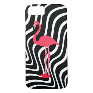 pink flamingo on black and white wavy stripes iPhone 8/7 case
