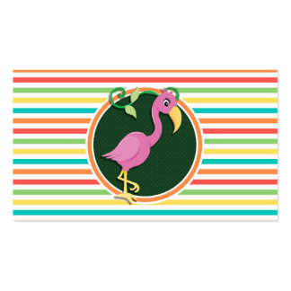 Pink Flamingo on Bright Rainbow Stripes Business Card