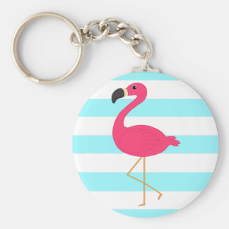 Pink Flamingo on Light Teal Stripes Key Ring