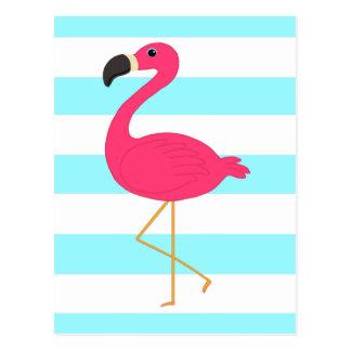Pink Flamingo on Light Teal Stripes Postcard