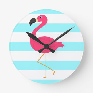 Pink Flamingo on Light Teal Stripes Round Clock