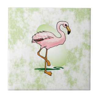 Pink Flamingo on Pale Green Background Tile