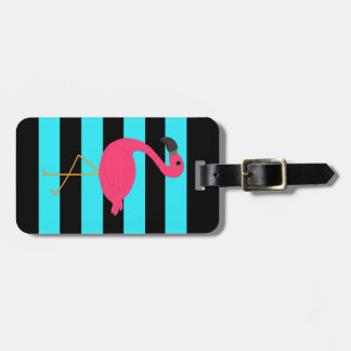 Pink Flamingo on Teal and Black Bag Tag