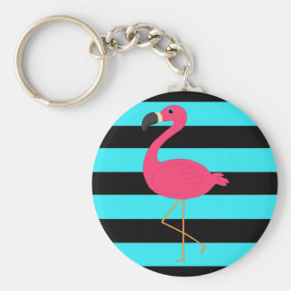 Pink Flamingo on Teal and Black Basic Round Button Key Ring