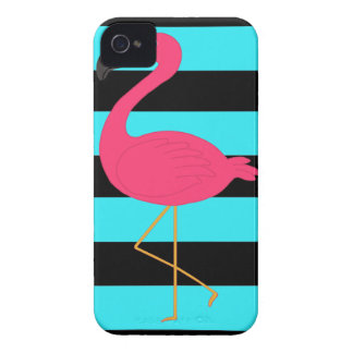 Pink Flamingo on Teal and Black iPhone 4 Cases