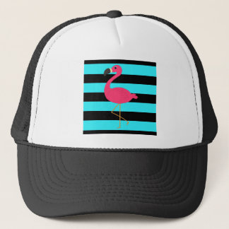 Pink Flamingo on Teal and Black Trucker Hat