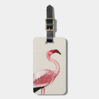 Pink Flamingo on Vintage Polka Dots Luggage Tag