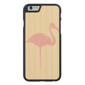 Pink flamingo on yellow lined background carved® maple iPhone 6 slim case